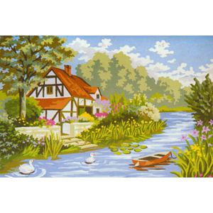Cottage by the Stream  - Collection d'Art Needlepoint Canvas