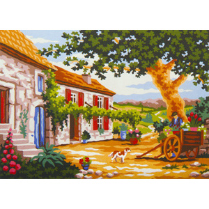 Tuscan Courtyard  - Collection d'Art Needlepoint Canvas