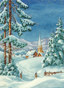 Snow Chapel  - Collection d'Art Needlepoint Canvas