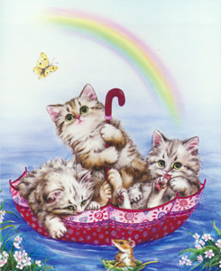 Rainbow Kittens  - Collection d'Art Needlepoint Canvas