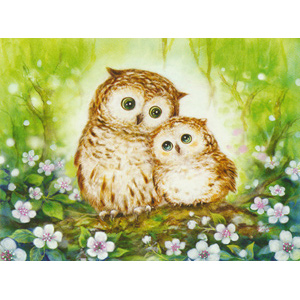 Mother and Baby Owl  - Collection d'Art Needlepoint Canvas