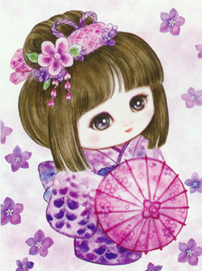 Sweet Geisha Parasol  - Collection d'Art Needlepoint Canvas