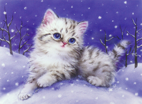Kitten in the Snow  - Collection d'Art Needlepoint Canvas