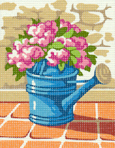 Margot Creations de Paris Needlepoint - Picture Kits - Watering Can with Flowers