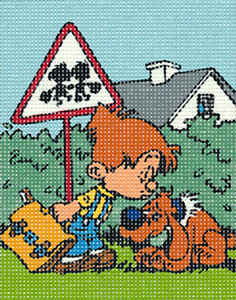 Margot Creations de Paris Needlepoint - Picture Kits - Little Boy and Dog (Kiss Goodbye)