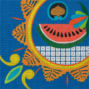 Leigh Designs - Hand-painted Needlepoint Canvases - Baja Collection - Agua Viva