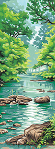 Margot Creations de Paris Needlepoint (La Riviere) The River Small Canvas