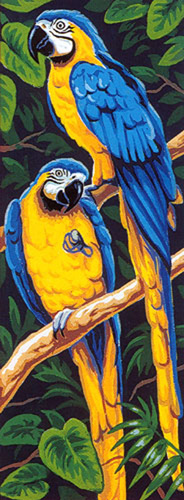 Margot Creations de Paris Needlepoint - Les Aras Jaunes (The Yellow Macaws) (Blue and Gold Macaws)