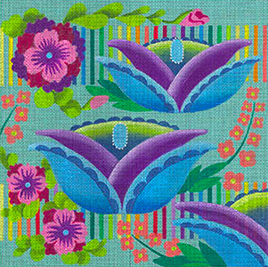 Leigh Designs - Hand-painted Needlepoint Canvases - Guadalajara Collection - Cabanas (includes stitching guide)