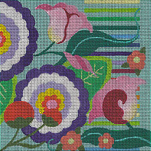 Leigh Designs - Hand-painted Needlepoint Canvases - Guadalajara Collection - Zapopan Coaster