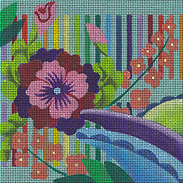Leigh Designs - Hand-painted Needlepoint Canvases - Guadalajara Collection - Cabanas Coaster