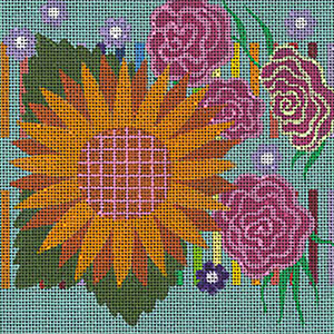 Leigh Designs - Hand-painted Needlepoint Canvases - Guadalajara Collection - Hidalgo Coaster