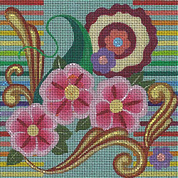 Leigh Designs - Hand-painted Needlepoint Canvases - Guadalajara Collection - Calandria Coaster