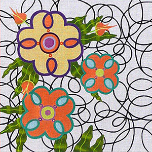 Leigh Designs - Hand-painted Needlepoint Canvases - Staccato Collection - Pizzicato Canvas