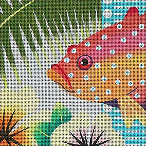Leigh Designs - Hand-painted Needlepoint Canvases - Caribe Collection - Montego Coaster