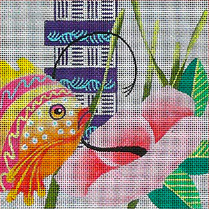 Leigh Designs - Hand-painted Needlepoint Canvases - Caribe Collection - Barbados Coaster