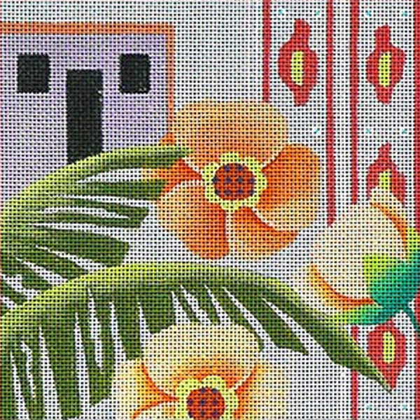 Leigh Designs - Hand-painted Needlepoint Canvases - Caribe Collection - Antigua Coaster