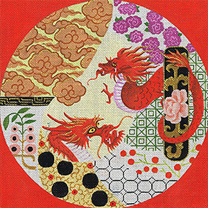 Leigh Designs - Hand-painted Needlepoint Canvases - Imari Collection - Dreams of the Dragon