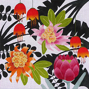 Leigh Designs - Hand-painted Needlepoint Canvases - Jungle Heat Collection - Fiery Brazil