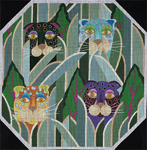Jeweled Leopards - Hand Painted Needlepoint Canvas from dede's Needleworks
