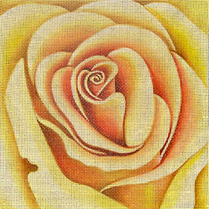 Leigh Designs - Hand-painted Needlepoint Canvases - Bouquet - Yellow Rose