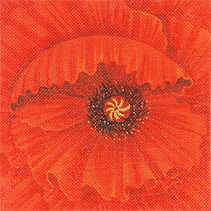 Leigh Designs - Hand-painted Needlepoint Canvases - Bouquet - Red Poppy
