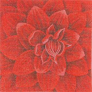 Leigh Designs - Hand-painted Needlepoint Canvases - Bouquet - Claret Dahlia