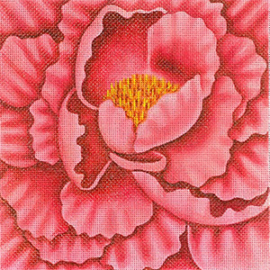Leigh Designs - Hand-painted Needlepoint Canvases - Bouquet - Pink Peony