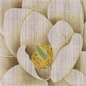 Leigh Designs - Hand-painted Needlepoint Canvases - Bouquet - White Magnolia