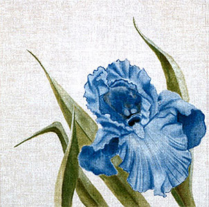 Leigh Designs - Hand-painted Needlepoint Canvases - Classic Florals - Blue Iris
