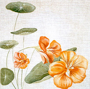 Leigh Designs - Hand-painted Needlepoint Canvases - Classic Florals - Nasturtium