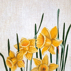 Leigh Designs - Hand-painted Needlepoint Canvases - Classic Florals - Daffodil
