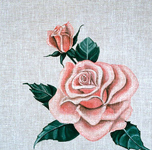 Leigh Designs - Hand-painted Needlepoint Canvases - Classic Florals - Rose