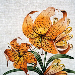 Leigh Designs - Hand-painted Needlepoint Canvases - Classic Florals - Tiger Lily