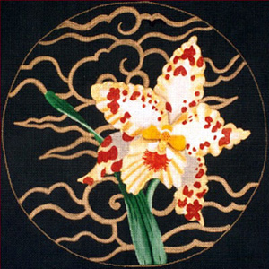 Leigh Designs - Hand-painted Needlepoint Canvases - Ming Orchids - Tigersun Orchid