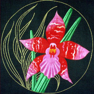 Leigh Designs - Hand-painted Needlepoint Canvases - Ming Orchids - Hamburen Orchid