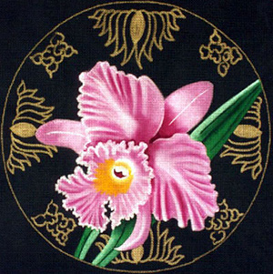 Leigh Designs - Hand-painted Needlepoint Canvases - Ming Orchids - Thalie Orchid