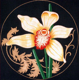 Leigh Designs - Hand-painted Needlepoint Canvases - Ming Orchids - Jolity Orchid