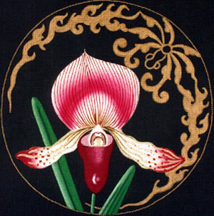 Leigh Designs - Hand-painted Needlepoint Canvases - Ming Orchids - Song of Mississippi Orchid