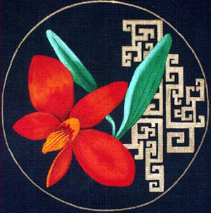 Leigh Designs - Hand-painted Needlepoint Canvases - Ming Orchids - Coccinea Orchid