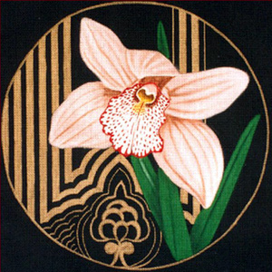Leigh Designs - Hand-painted Needlepoint Canvases - Ming Orchids - Vieux Rose Orchid