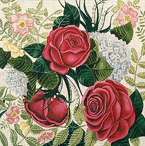 Leigh Designs - Hand-painted Needlepoint Canvases - Lush Florals - Fragrant Garden