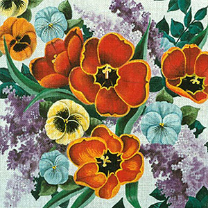 Leigh Designs - Hand-painted Needlepoint Canvases - Lush Florals - May Flowers