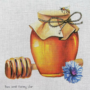 Bee & Honey Jar Hand  Painted Canvas