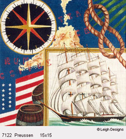 Leigh Designs - Hand-painted Needlepoint Canvases - The Tall Ships - Preussen