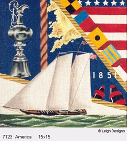 Leigh Designs - Hand-painted Needlepoint Canvases - The Tall Ships - America
