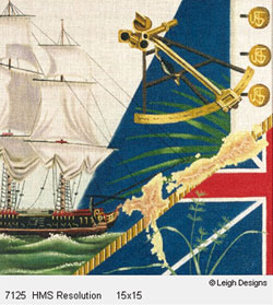 Leigh Designs - Hand-painted Needlepoint Canvases - The Tall Ships - HMS Resolution