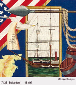 Leigh Designs - Hand-painted Needlepoint Canvases - The Tall Ships - Belvedere