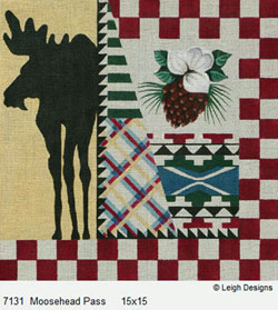 Leigh Designs - Hand-painted Needlepoint Canvases - Cabin Fever - Moosehead Pass
