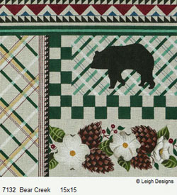 Leigh Designs - Hand-painted Needlepoint Canvases - Cabin Fever - Bear Creek